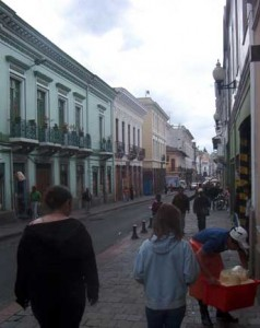 A street in the colonial sector of downtown Quito